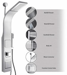 AKDY 39″ Stainless Steel Wall Mount Waterfall Shower Panel
