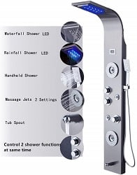 ELLO&ALLO Stainless Steel Rainfall Waterfall Shower Tower
